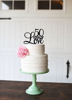 50 Years of Love Cake Topper - 50th Anniversary Cake Topper by ThePinkOwlDesigns on Etsy https://www.etsy.com/ca/listing/195020989/50-years-of-love-cake-topper-50th