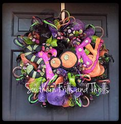 Spooky Halloween Deco Mesh Wreath by SouthernThrills on Etsy, $72.00