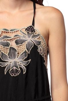 flowers + beige + black [Bali cutwork romper]