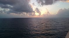 Sunset on the Atlantic from the cruise ship deck.