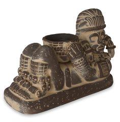 Angel Cerón Aztec Chac Mool Ceramic Sculpture