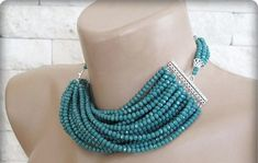 Crystal Chunky Layered Necklace Green Crystal  by galladesign
