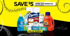 Save $5 when you spend $15 on your favorite P∓G products at Dollar General now through 2/19/17.