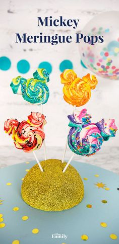 Mickey Rainbow Meringue Pops are the perfect treat for your next family gathering or birthday party. Click to see four delightful ways to make this magical Mickey recipe.
