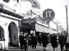 It Stand, Playland at the Beach (ca. 1940s) My favorite ice cream Was made in this Cafe Called It's It Vanilla ice cream in between 2 oatmeal cookies dipped in chocolate Glad It' still around although the cafe and Playland are long gone.
