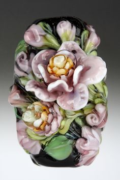 Dolly Ahles lampworked glass bead Violet Love