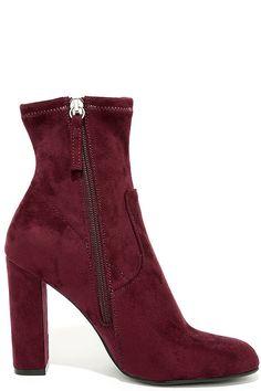 6769f02c1f7 Steve Madden Edit Burgundy Suede High Heel Mid-Calf Boots