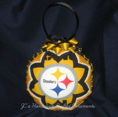 PITTSBURGH STEELERS Ornament Made From Steelers Fabric, Black and Gold, Dated Ornament, Pittsburgh Steelers, Steelers Ornaments, - pinned by pin4etsy.com