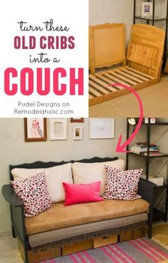Repurpose a couple old cribs into a nice loveseat style couch or sofa!