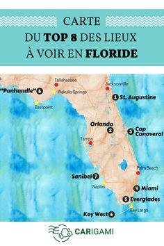 Voici la carte de nos 8 incontournables de la Floride. Que voir ? Que visiter ? Vous trouvez ici notre sélection ! #USA #Roadtrip #Carte #Voyage #Floride
