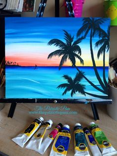 Paddle boarding at sunset painting idea. Beginner canvas painting.