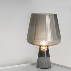 Modern Smoke Grey Industrial Table Lamp Bedroom Bedside Concrete Glass Desk Lamp Reading Living Room Home Offices Makeup Table Stained Glass Table Lamps, Grey Table Lamps, Table Lamps For Bedroom, Light Table, Glass Desk, Concrete Lamp, Industrial Table, Modern Industrial, Grey Glass