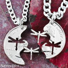 Dragonfly jewelry, Interlocking Necklaces, hand cut coin | NameCoins - Jewelry on ArtFire