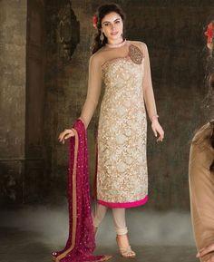 Fancy Off White Ready Made Salwar Kameez [ADF28479] $144.88 - Buy fashion wear online, Buy Indian wear Online by A1designerwear.com