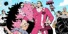 One Piece, Gild Tesoro, Doflamingo, Law, Corazon, Sir Crocodile