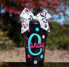 Personalized Black Acrylic Tumbler with Lid and Straw