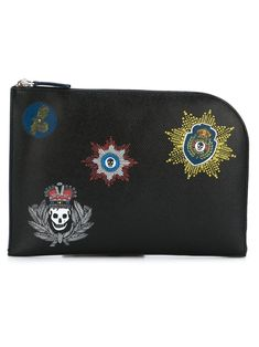 Alexander Mcqueen Black Calf Leather Half Zip Pouch With Skull Studded Front Badge, Coin Purse, Leather Clutch, Hand Bags, Mens Fashion, Wallet, Collection, Style, King