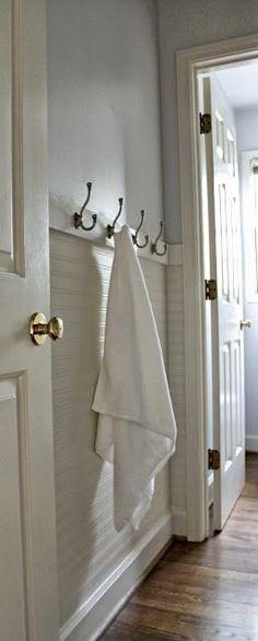 Our Fifth House: Fresh Paint, Beadboard Wallpaper & Towel Hooks - hanging beadboard wallpaper horizontally (Diy Bathroom Kids) Hang Towels In Bathroom, Bathroom Kids, Small Bathroom, Neutral Bathroom, Hanging Towels, Bathroom Bath, Diy Hanging, Bath Tub, Shiplap Bathroom