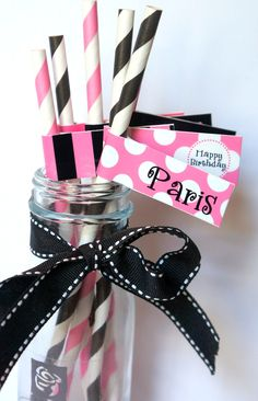 Pink Poodle in Paris Party Paper Straws and Straw by thatsawrap2, $12.00