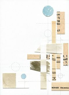 Contemporary abstract paper fine art collage: Configuration 1 - original mixed media collage in white, beige, and aqua