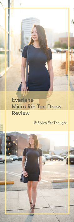 Everlane Micro Rib Tee Dress in Navy. Everlane Cotton Bodycon Dress with  Crew Neck and d260bfa269f7
