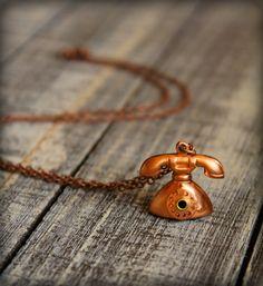 Vintage Telephone Necklace in Copper by saffronandsaege on Etsy
