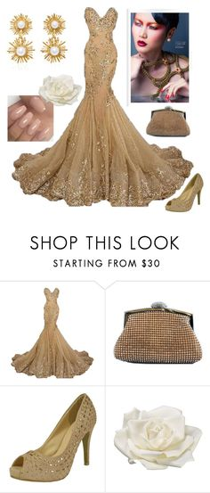 """""""Gold Prom"""" by chicastic ❤ liked on Polyvore featuring Allstate Floral and Oscar de la Renta"""