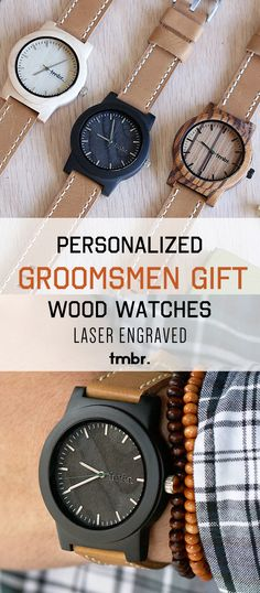 The perfect Groomsmen Gift Idea...personalized real wood watches & Free USA Shipping.