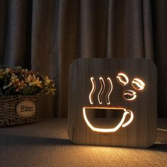 coffee cups Coffee Cup design wooden LED lamp at Wooden Lamp, Wooden Diy, Lampe Led, Led Lamp, Hot Coffee, Coffee Cups, Coffee Shop, Coffee Maker, Deco Cafe