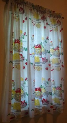vintage christmas tablecloth turned kitchen curtains (from old glory