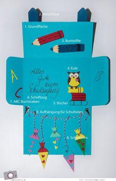 DIY: Karte zur Einschulung / zum Schulanfang basteln - ein Schulranzen mit Schultüten, Buntstiften und Eule