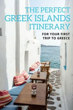 The Perfect Greek Islands Itinerary For Your First Trip To Greece. Featuring Mykonos, Santorini and Rhodes. The Perfect Greek Islands Itinerary For Your First Trip To Greece. Featuring Mykonos, Santorini and Rhodes. Greek Islands Vacation, Greek Islands To Visit, Best Greek Islands, Greece Islands, Greece Itinerary, Greece Honeymoon, Greece Vacation, Greece Travel, Greece Trip