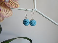 Crochet ball earring. Red blue white purple orange. by NMNHANDMADE, $9.90