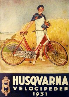 "SWEDISH!!!! BICYCLE!!!!!Poster: ""Husqvarna Velocipeder"" (Bicycle) Sweden, 1931"