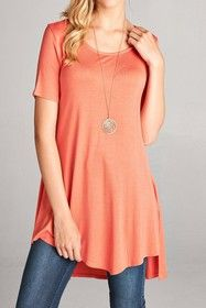 Hi Low Tunic Top Coral