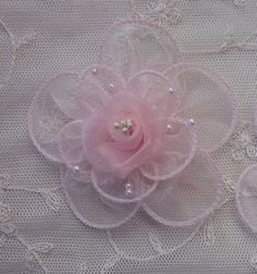 2 pc PINK Organza flower applique w pearl bead for Hat Bridal Corsage Pin brooch barrette headband hair accessory Organza Flowers, Kanzashi Flowers, Fabric Flowers, Ribbon Flower, Bridesmaid Hair Flowers, Wedding Hair Flowers, Ribbon Art, Fabric Ribbon, Baby Doll Hair