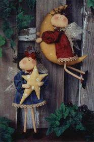 Country sun and moon angels. Christmas Love, Christmas Angels, All Things Christmas, Christmas Holidays, Christmas Crafts, Christmas Decorations, Xmas, Christmas Ornaments, Merry Christmas