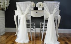 Wedding Chiffon Chair Sash ~ White/cream - Wedding Chair Decor - Chivari Chair…