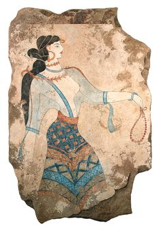 The Adorants. The Minoan fresco of a woman elaborately dressed indicate the social status. In her left hand a necklace of rock crystal beads. As in many other Minoan frescoes, her breasts are bared. Although the artist skillfully conveys the allure of the female form through the transparent fabrics, he has some limitations conveying the perspective of the right breast. It is a custom handpainted wall hanging that is dimensional. Various panel sizes available.