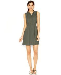 Maison Jules Pleated Sleeveless Shirtdress - Dresses - Women - Macy's