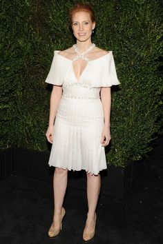Jessica Chastain in Spring/ Summer 2013 Haute Couture - Chanel & Charles Finch Pre-Oscars Party, 2013.