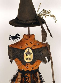primitive folk art witch mannequin