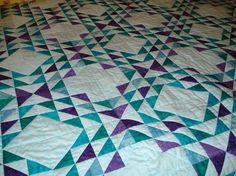 Patchwork Quilt Ocean Waves in Aqua Jade Teal by MurphysHouse