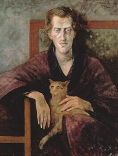 'Oscar Wilde' - Theo Daamen (b.1939) The portrait of the Cat, is 'the' portrait. The man is just a prop for the pussy cat with those mesmerizing eyes.
