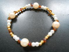 Armband mit naturtönen Glasperlen  von KAWAII auf DaWanda.com