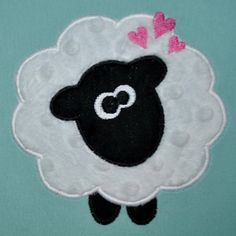 INSTANT DOWNLOAD -Embroidery Machine Applique Design - Cute Sheep with Hearts - 3 Sizes - Valentines Applique Design - Love Embroidery