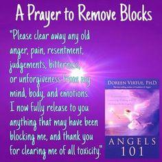 Prayers to remove blocks by Doreen Virtue