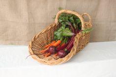 Vintage Farmers Market Basket, Open Air Market Basket, Double Handled Basket, Wicker Basket, Fruit and Vegetable Basket, Garden Basket