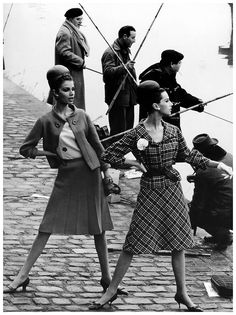"""""""Paris Silhouettes,"""" Gloria Friedrich and Bettina Lauer in suits by Pierre Cardin, photographed along the Seine by Rico Puhlmann for Stern magazine, March 3, 1963."""