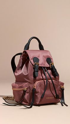 Mauve pink The Small Rucksack in Technical Nylon and Leather - Image 1